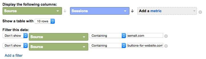 Google Analytics filtering data